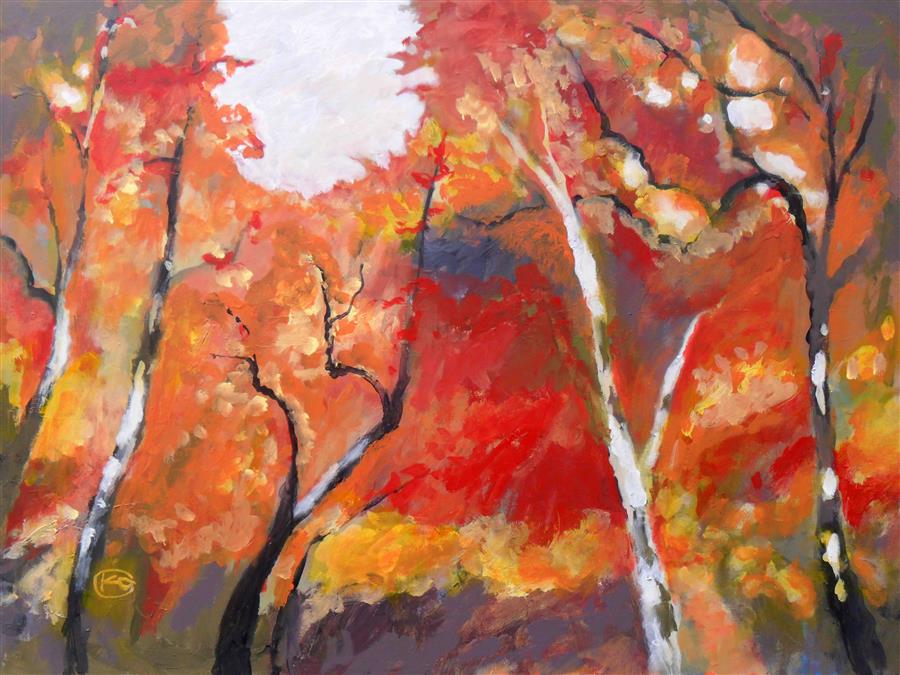 Discover Original Art by Kip Decker | Autumn Woodland acrylic painting | Art for Sale Online at UGallery