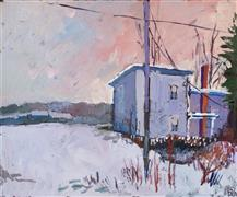 Architecture art,Impressionism art,Landscape art,Representational art,acrylic painting,Cold Afternoon