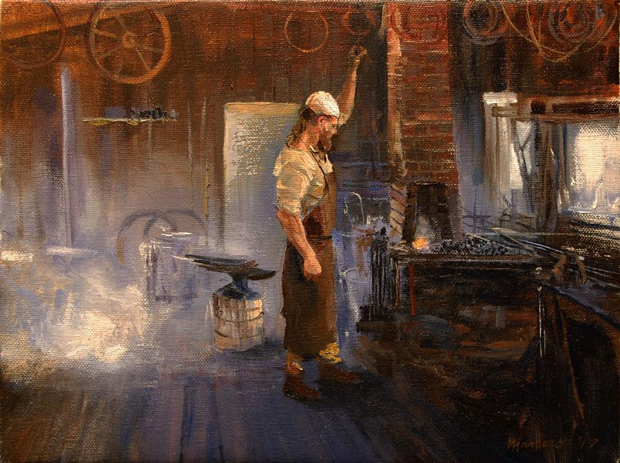 Discover Original Art by Onelio Marrero | Reenactment Blacksmith oil painting | Art for Sale Online at UGallery