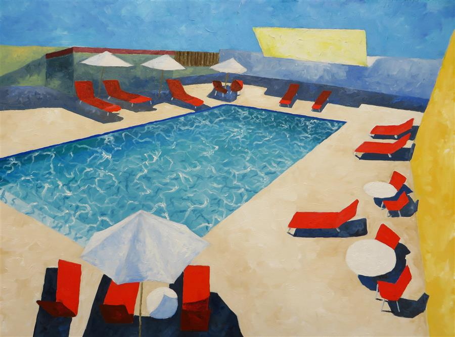Discover Original Art by Mitchell Freifeld | Pool Side #2 oil painting | Art for Sale Online at UGallery