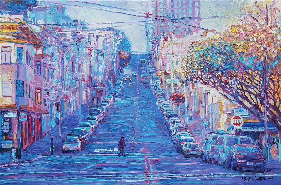 Discover Original Art by Seth Couture | Crossing Union and Powell for Sushi, San Francisco acrylic painting | Art for Sale Online at UGallery