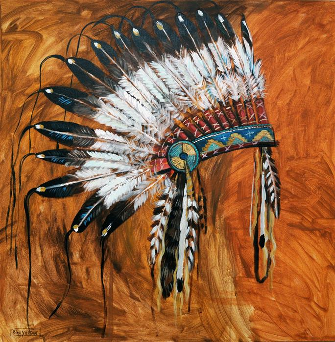 Discover Original Art by Kira Yustak | Headdress acrylic painting | Art for Sale Online at UGallery