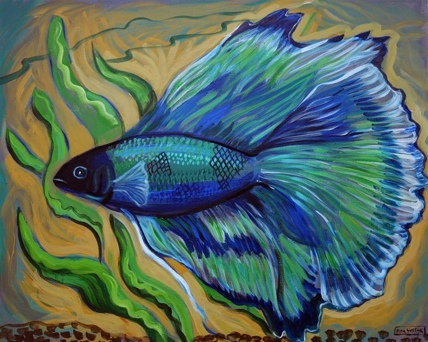 Discover Original Art by Kira Yustak | Butterfly Tail Betta acrylic painting | Art for Sale Online at UGallery