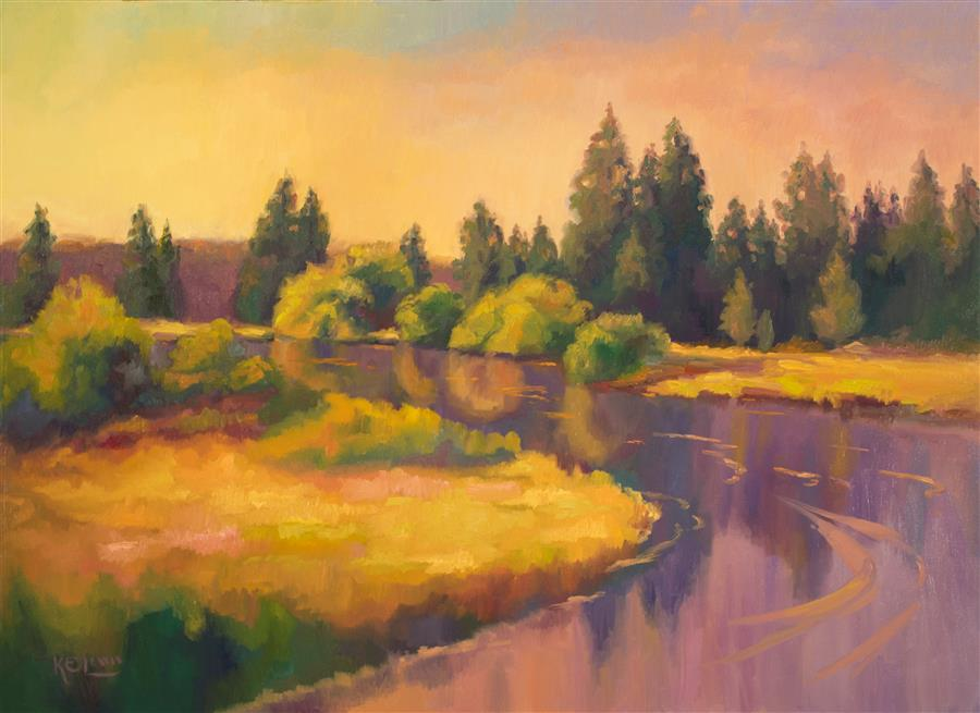 Discover Original Art by Karen E Lewis | Deschutes Summer Sundance oil painting | Art for Sale Online at UGallery