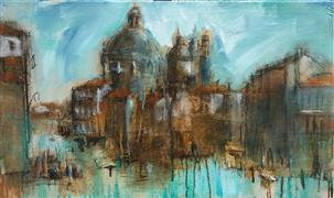 Architecture art,Expressionism art,Travel art,Representational art,mixed media artwork,Venice