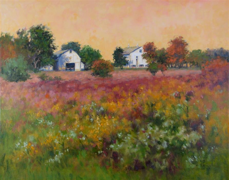 Discover Original Art by Suzanne Massion | Goldenrod Homestead oil painting | Art for Sale Online at UGallery