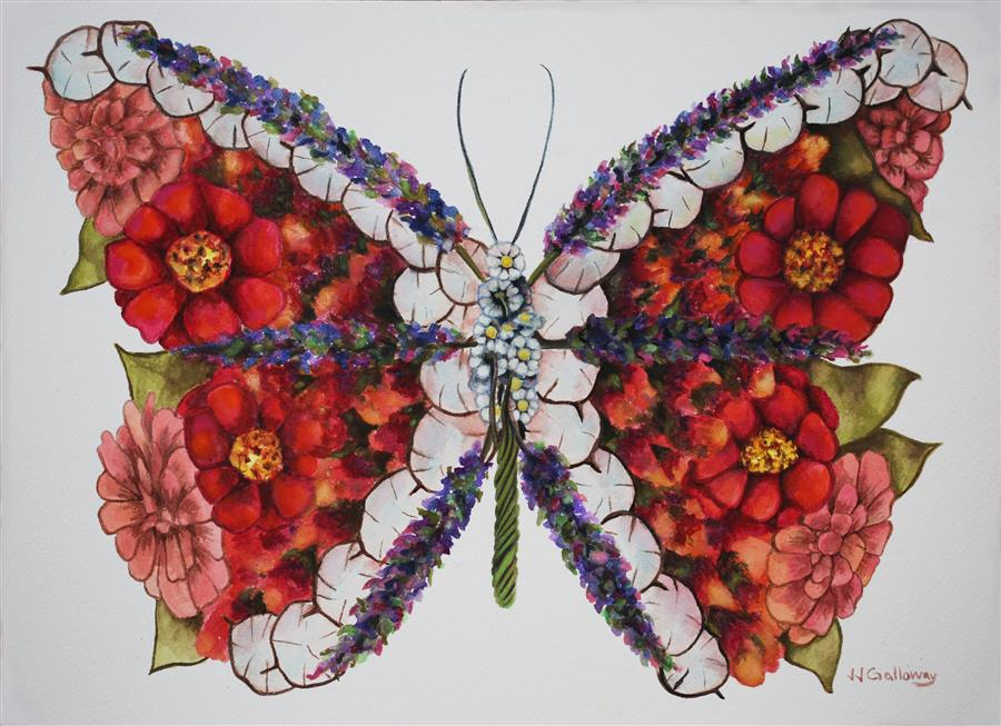 Discover Original Art by JJ Galloway | Butterfly Bouquet watercolor painting | Art for Sale Online at UGallery