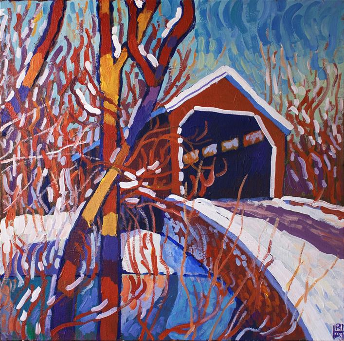Discover Original Art by Robert Hofherr | Covered Bridge acrylic painting | Art for Sale Online at UGallery