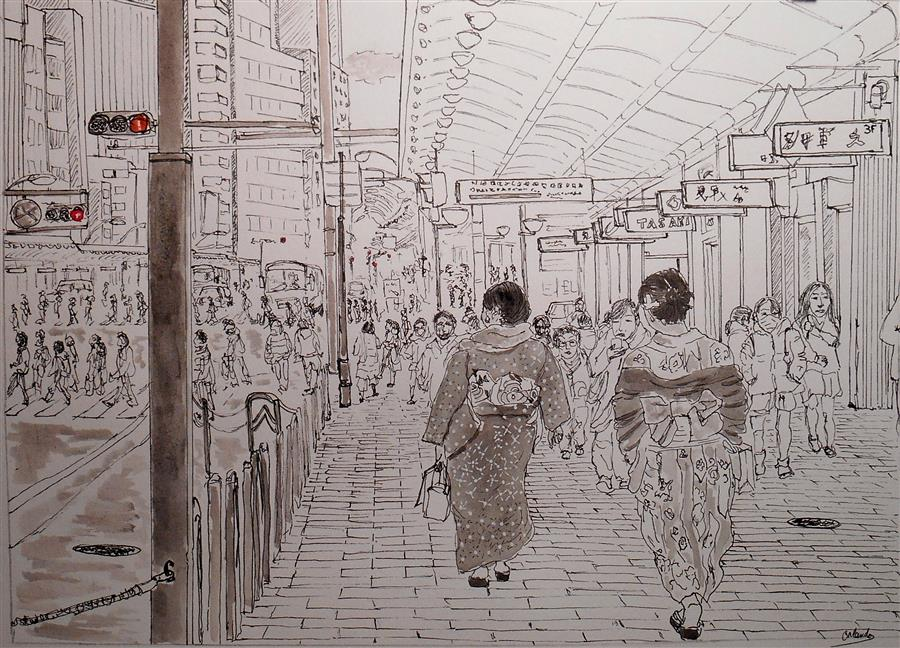Discover Original Art by Orlando Marin-Lopez | Kimonos in Kyoto ink artwork | Art for Sale Online at UGallery