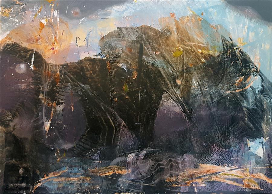 Discover Original Art by Kloska Ovidiu | The Fantastic Diaphane Romantic Landscape acrylic painting | Art for Sale Online at UGallery