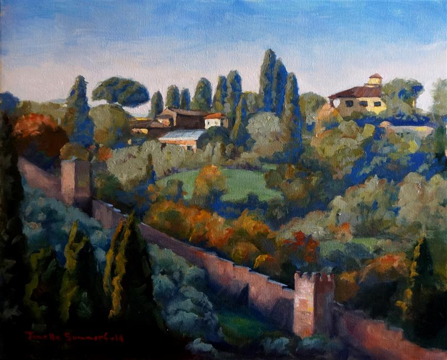 Discover Original Art by Jonelle Summerfield | View from Piazza Michelangelo oil painting | Art for Sale Online at UGallery