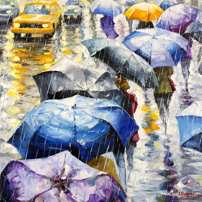 Discover Original Art by Stanislav Sidorov | New York Street under the Rain oil painting | Art for Sale Online at UGallery