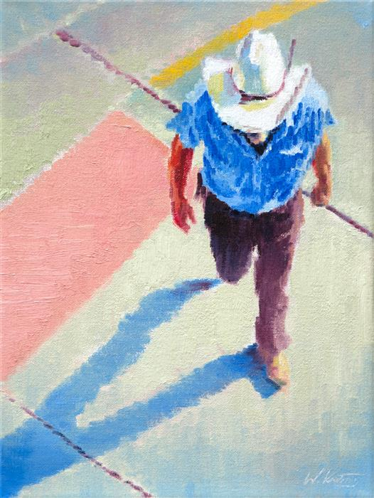 Discover Original Art by Warren Keating | Cowboy in the Crosswalk in Santa Fe oil painting | Art for Sale Online at UGallery