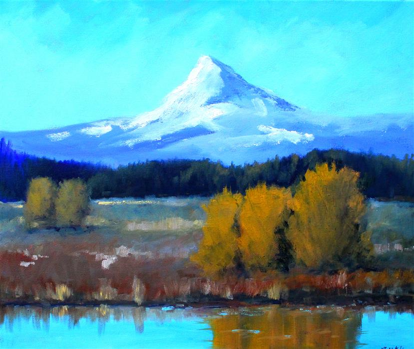 Original art for sale at UGallery.com | Mount Hood Vista by NANCY MERKLE | $950 | Oil painting | 20' h x 24' w | http://www.ugallery.com/oil-painting-mount-hood-vista