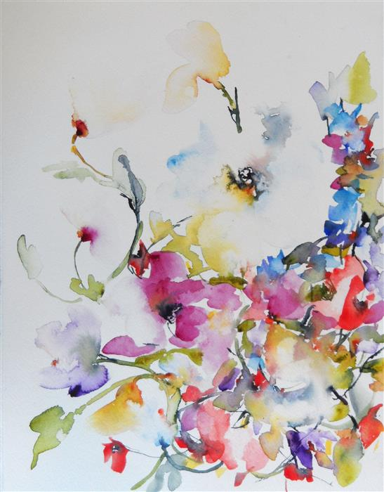 Discover Original Art by Karin Johannesson | Spring Blooms II watercolor painting | Art for Sale Online at UGallery