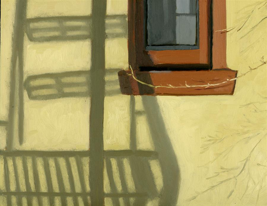 Discover Original Art by Nancy Herman | Fire Escape Shadow oil painting | Art for Sale Online at UGallery