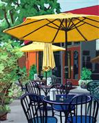 Architecture art,Cuisine art,Realism art,Representational art,acrylic painting,Empire Cafe