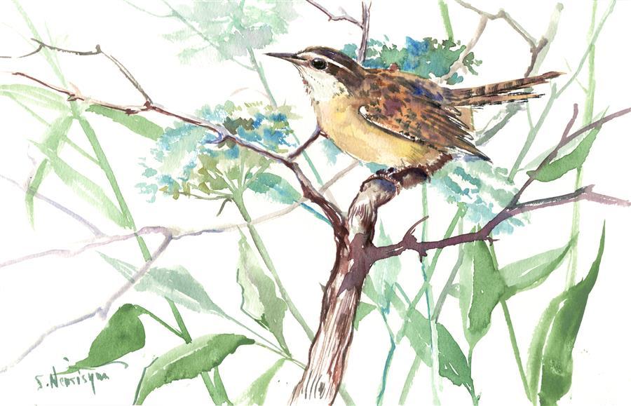 Discover Original Art by Suren Nersisyan | Carolina Warbler  (Horizontal) watercolor painting | Art for Sale Online at UGallery