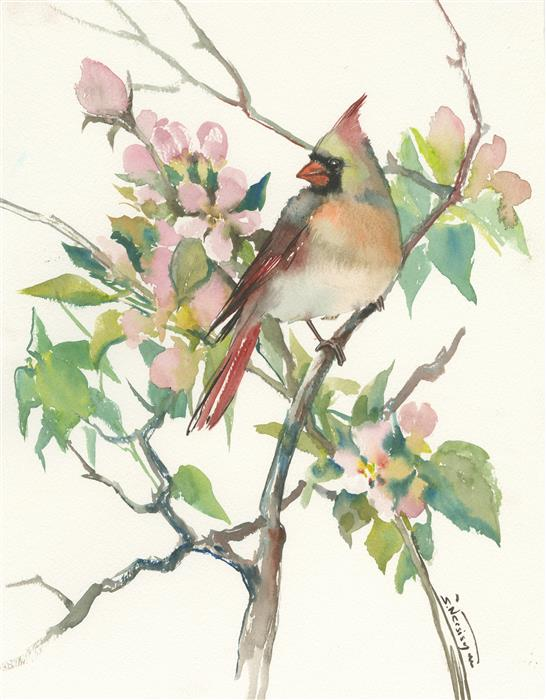 Discover Original Art by Suren Nersisyan | Cardinal and Apple Tree Blossom watercolor painting | Art for Sale Online at UGallery