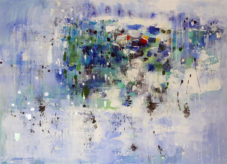 Discover Original Art by Changsoon Oh | Coastal Light Rain acrylic painting | Art for Sale Online at UGallery