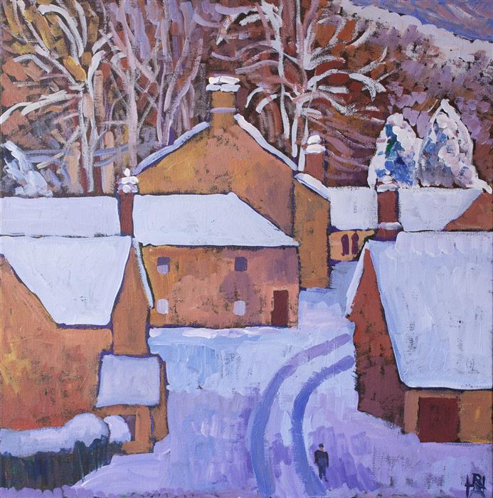Discover Original Art by Robert Hofherr | Quiet Village acrylic painting | Art for Sale Online at UGallery