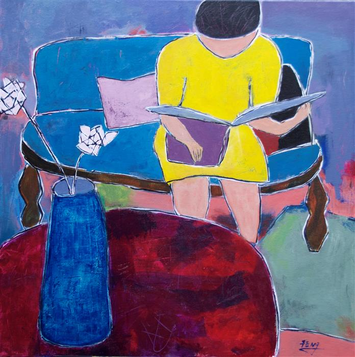 Discover Original Art by Feng Biddle | Woman Reading I acrylic painting | Art for Sale Online at UGallery