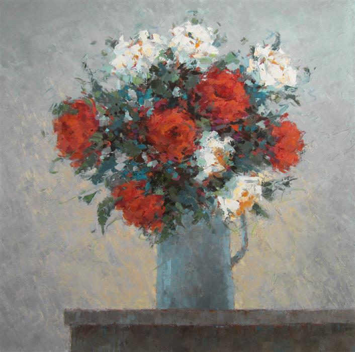 Discover Original Art by Tricia May | Garden Roses #2 oil painting | Art for Sale Online at UGallery
