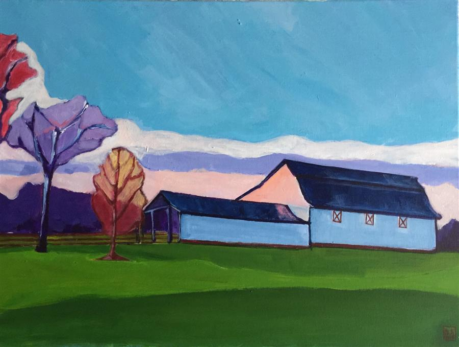 Discover Original Art by Laura (Yi Zhen) Chen | Barns at Hillsborough acrylic painting | Art for Sale Online at UGallery