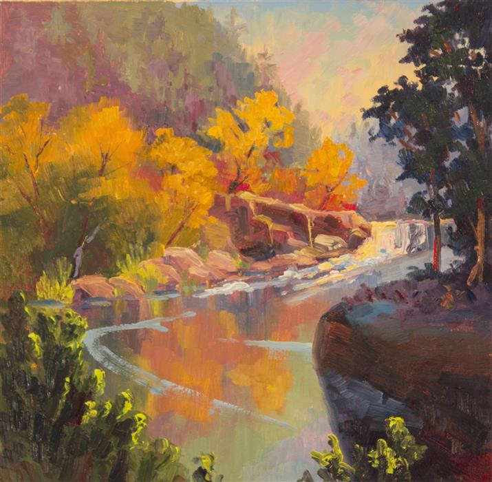 Discover Original Art by Karen E Lewis | Steamboat Creek Fall oil painting | Art for Sale Online at UGallery
