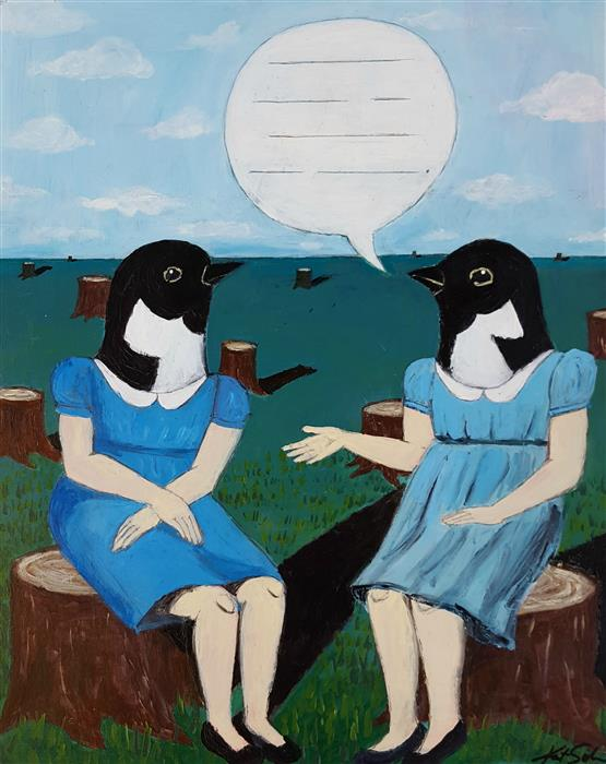 Discover Original Art by Kat Silver | Topic of Conversation acrylic painting | Art for Sale Online at UGallery