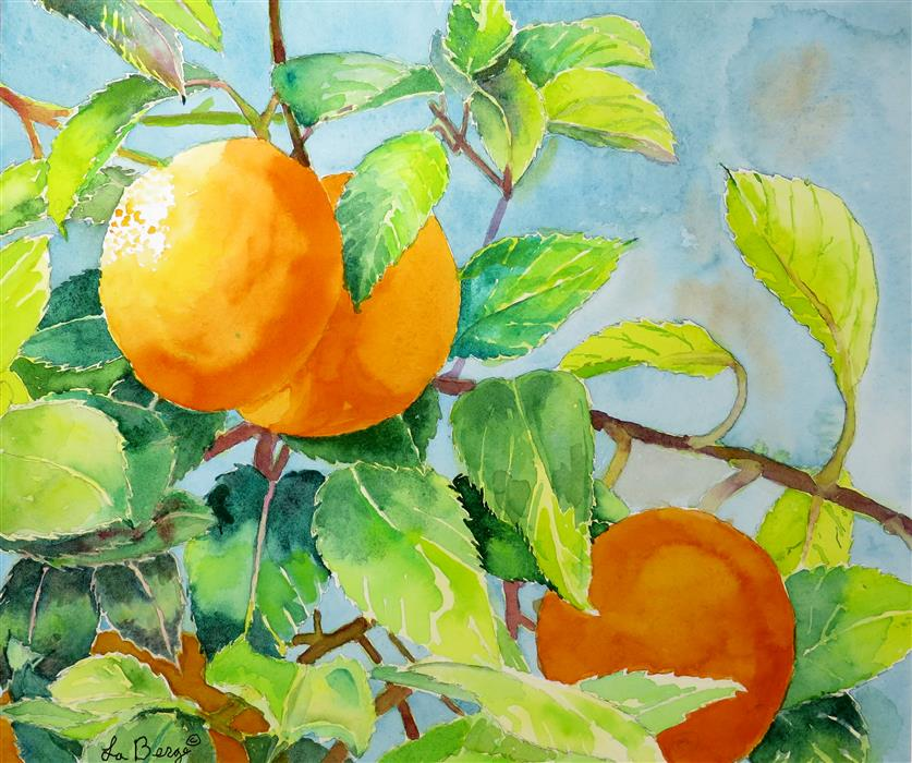 Discover Original Art by Nancy Muren | Oranges and Greens watercolor painting | Art for Sale Online at UGallery