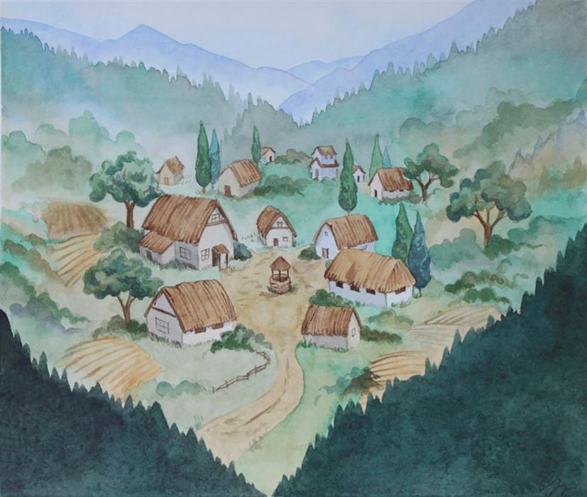 Discover Original Art by Chamisa Kellogg | The Village watercolor painting | Art for Sale Online at UGallery