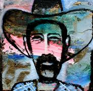 Expressionism art,People art,Western art,Representational art,mixed media artwork,Cowboy 2- Reflection