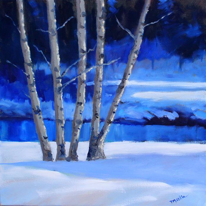 Discover Original Art by Nancy Merkle | Dechutes Snow oil painting | Art for Sale Online at UGallery