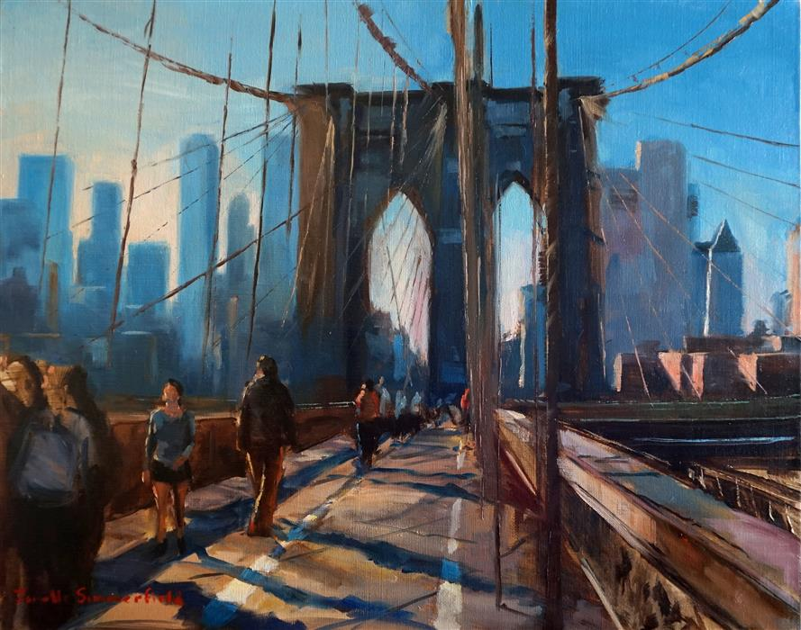 Discover Original Art by Jonelle Summerfield | Crossing the Brooklyn Bridge oil painting | Art for Sale Online at UGallery