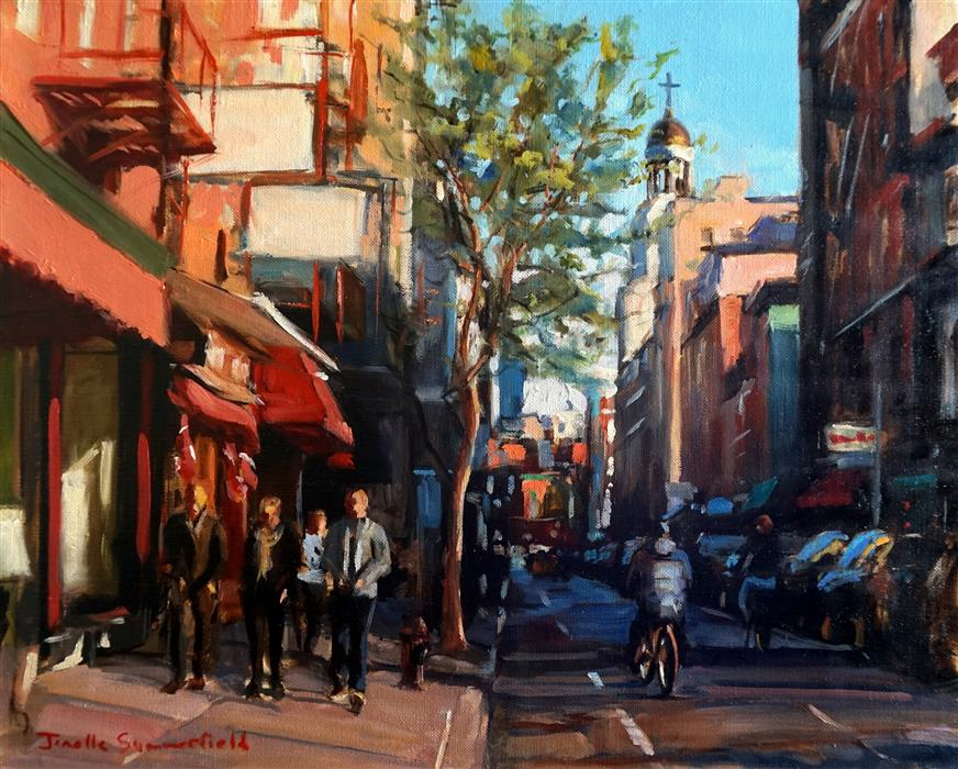 Discover Original Art by Jonelle Summerfield | Dinnertime in Greenwich Village oil painting | Art for Sale Online at UGallery