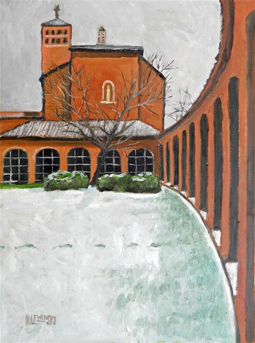 Discover Original Art by Robert  Holewinski | The Colonnade at Christ House oil painting | Art for Sale Online at UGallery