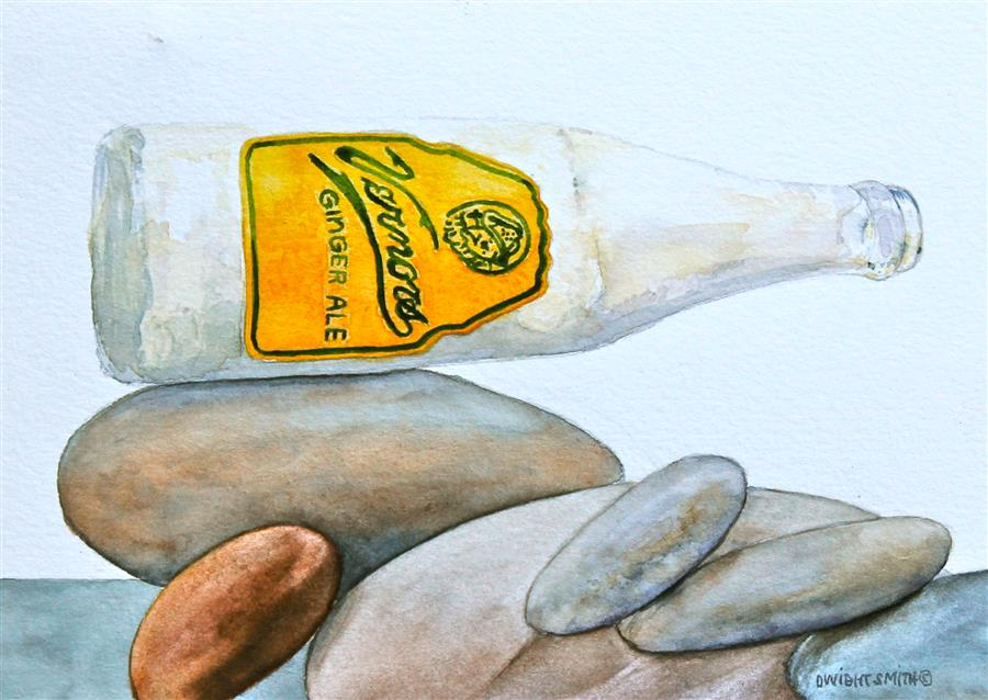 Discover Original Art by Dwight Smith | Vernor's on the Rocks watercolor painting | Art for Sale Online at UGallery