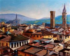 Architecture art,Impressionism art,Travel art,Representational art,oil painting,Florentine Rooftops