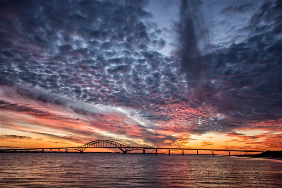 Discover Original Art by Michael Busch | Fire Island Inlet Bridge after Sunset photography | Art for Sale Online at UGallery