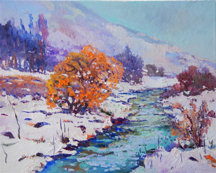 Discover Original Art by Suren Nersisyan   Winter Landscape with Orange Tree oil painting   Art for Sale Online at UGallery