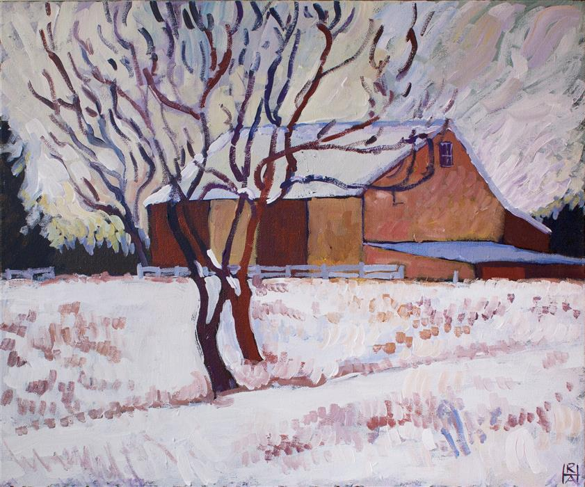 Discover Original Art by Robert Hofherr | Barn Near Cochranville acrylic painting | Art for Sale Online at UGallery