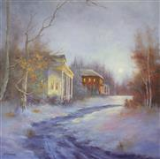 Landscape art,Classical art,Representational art,oil painting,Old Cottage Road