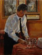 People art,Cuisine art,Realism art,Representational art,oil painting,Setting Out Glasses