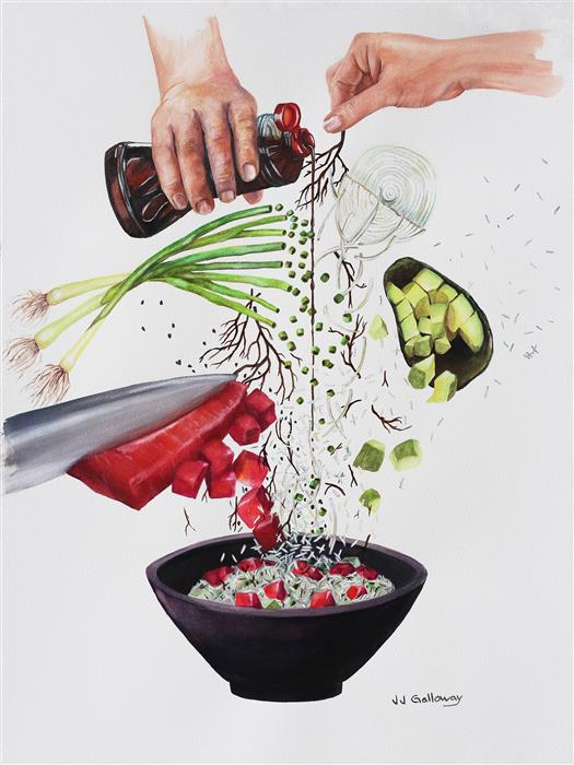 Discover Original Art by JJ Galloway | How to Make a Poke Bowl watercolor painting | Art for Sale Online at UGallery