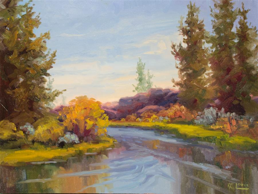 Discover Original Art by Karen E Lewis | Deschutes Spring oil painting | Art for Sale Online at UGallery
