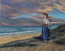 People art,Seascape art,Classical art,Representational art,oil painting,Storm at Sunset