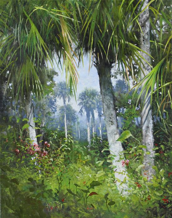 Discover Original Art by Kent Sullivan   Florida Palms oil painting   Art for Sale Online at UGallery