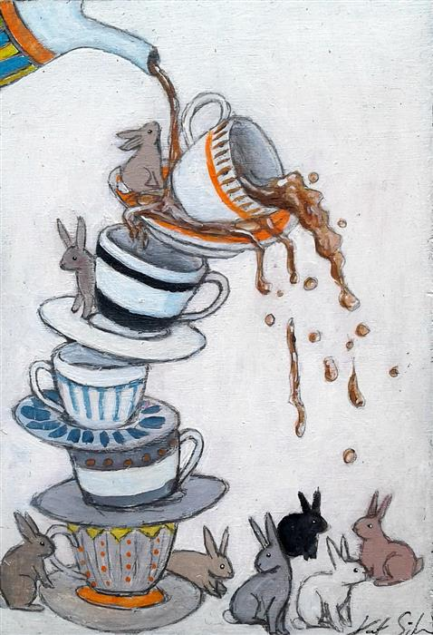 Discover Original Art by Kat Silver | Cup of Tea acrylic painting | Art for Sale Online at UGallery