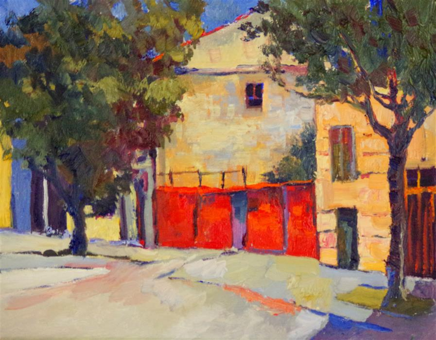 Discover Original Art by Suren Nersisyan   Red Wall in Old Town oil painting   Art for Sale Online at UGallery